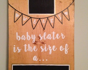 Pregnancy countdown, chalkboard, wood block countdown creation