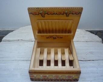 Vintage Wooden Square Cigarette Box, Traditional Bulgarian Cigarette Case, Hand Decorated Cigarette Box from 1970s