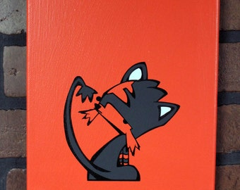 """Liar Liar, Mittens on Fire.  Hand Painted 8"""" x 10"""" canvas."""