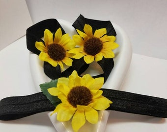 Infant Headband and barefoot sandals black with sunflowers