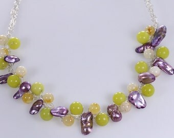 Green and Yellow Jade, Purple Pearl, Wire Crochet Sterling Siver Necklace