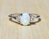 Silver Lab Opal Ring, White Opal Ring, Opal Engagement Ring, Opal Promise Ring, Anniversary Gift For Her, October Birthstone