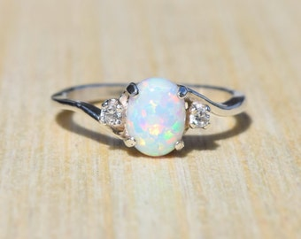 Opal Ring, White Opal Ring, Sterling Silver Ring, Opal Ring, Silver Opal Ring, Lab Opal Ring, Birthstone Ring, Promise Ring, Engagement Ring