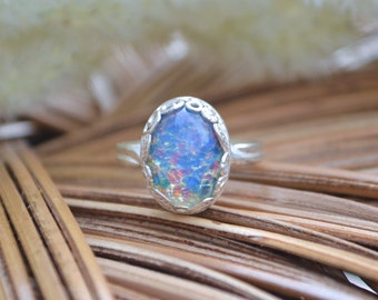 Blue Opal Ring, Sterling Silver Adjustable Band