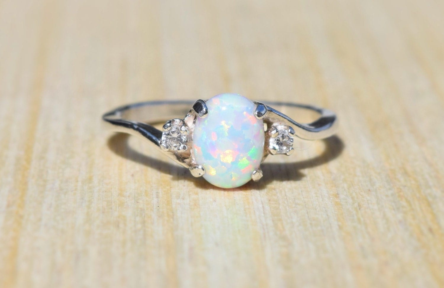 opal ring white opal ring sterling silver opal ring silver