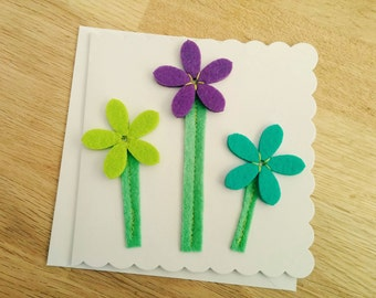 Hand stitched felt flowers greetings card