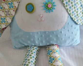 Blue and Green Bunny Pillow