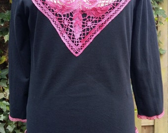 Black top with lace and three quarter sleeve