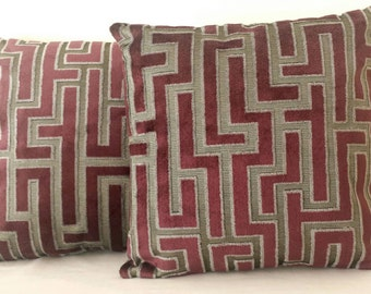 Handmade cushion cover, pillow cover, geometric design, purple, silver grey