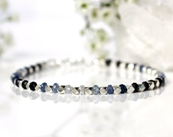 Sri Lanka Sapphire Bracelet, Genuine Natural Ombre Sapphire Jewelry, Shaded Gemstone Bracelet, 925 Sterling Silver, September Birthstone