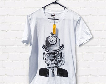 Hand screen printed 'Tick Tick Tiger' Adult slim fit T-shirt