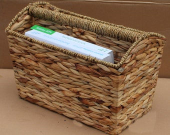 Woven Seagrass Magazine Basket/ Bin/ Holder