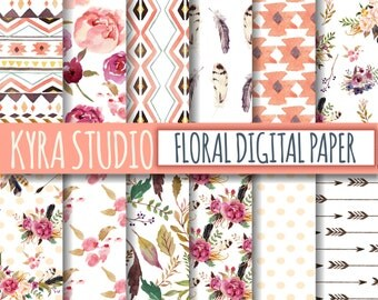 Rustic Digital Papers Boho Aztec Tribal Scrapbooking Peonies Pink Floral Flowers Leaves Polka Dot 12x12 Inches Printable papers 12 Sheets