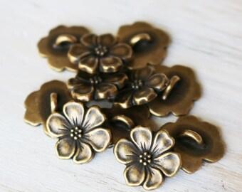 5 Antique Bronze Apple Blossom Button Flower Button Nature Button Lead free Pewter Button 102TCC