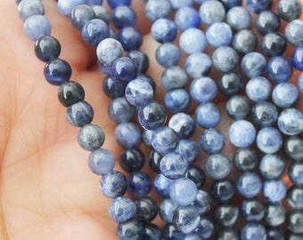 4mm sodalite smooth round blue gemstone throat chakra stone mala beads tiny blue beads