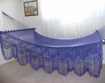 Victorian Garden Hammock #21/Princess Size/Purple Tie-Dyed/Solid Cast Brass rings