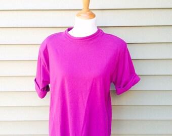 T shirt cuff etsy for Bright purple t shirt