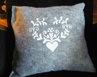 Decorative felt cushion, handmade