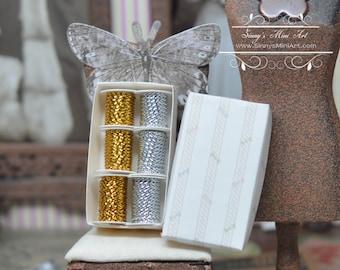 1:12 Dollhouse Miniature Gold Thread Spool/ Miniature Sewing AZ-A0804