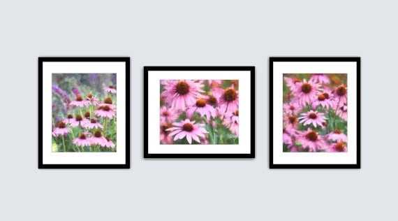 Pink Flower Art Prints, Gift for Mom, Pink Botanical Prints, Pink Art Prints, Pink Flowers, Pink Art, Three Fine Art Prints Wall Set.
