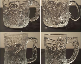 Set of 4 Batman Forever Glass Mugs McDonald's Batman Mugs 1995 McDonald's Batman Forever Promo Heavy Glass Mugs Complete Vintage Batman Mugs