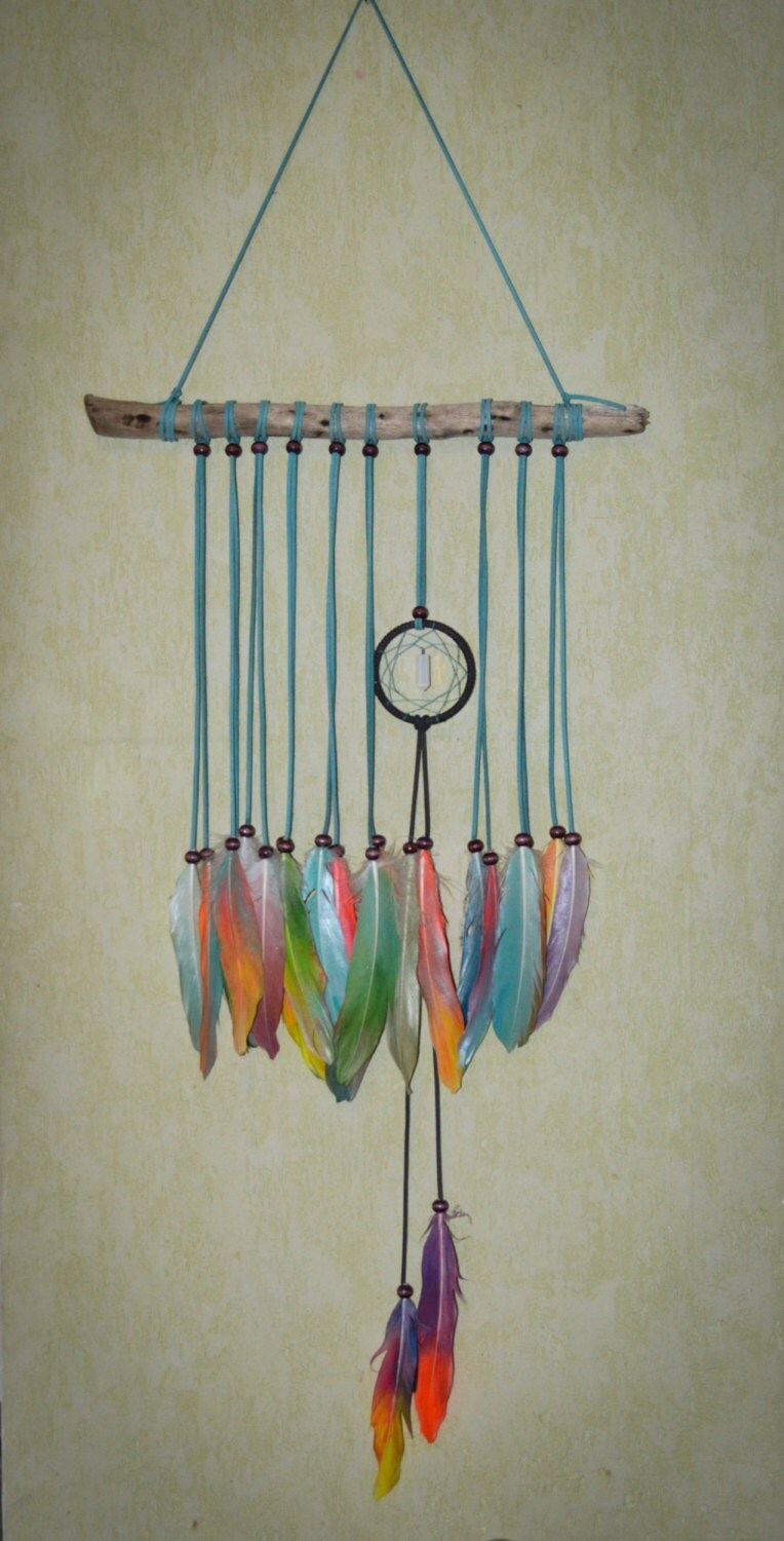 Driftwood dream catcher feathers wall hanging driftwood driftwood dream catcher feathers wall hanging driftwood feather wall hanging boho wall decor amipublicfo Gallery
