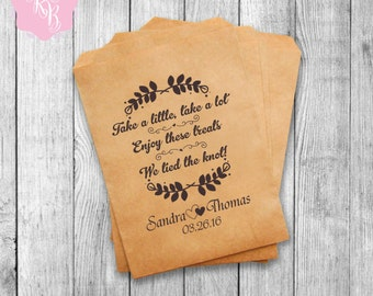 Wedding Favor Bags Wedding Favors Personalized Cookie Buffet Bags Candy Bar Bags Wedding Gift Idea Custom Wedding Favors Set of 20 Style 002