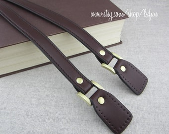 "Brown Faux Leather Handbag Straps 24"" long 0.8"" wide one pair"