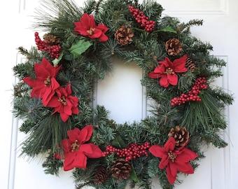 Christmas greenery wreath