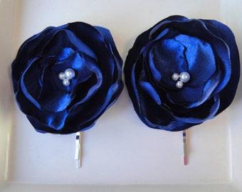 Royal Blue Flower Hair Pin, Blue Hair Flower, Wedding Hair Accessory, Wedding Hair Clip, Flower Hair Piece, MELANIE