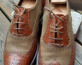 """Bruno Magli """"Ron"""" Brown Spectator Leather & Suede Wingtip Brogue Oxfords Size 10.5 M"""