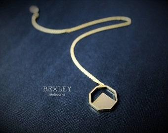 Octagon Geometric Gold Plated Pendant