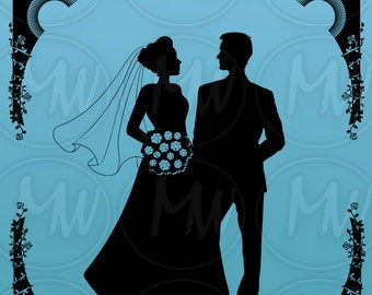 Wedding Silhouettes, Wedding Clipart, Bride & Groom, Clip, Art, Mix, Match, Head, Body, Silhouette, Instant Download, Digital Stamp #128