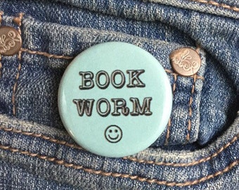 Book worm button or magnet 1.25 inch