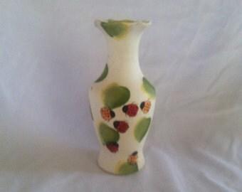 Whimsical Ceramic Ladybug Vase Decor Girls Room