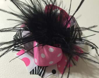 Pink and Zebra Over The Top Hair Bow, Over The Top Hair Bows, Girls Hair Bow, Over The Top Hair Bows ,Baby Headband
