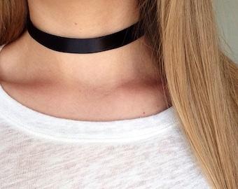 Plain Black Adjustable Ribbon Choker / Hippie / 90s Choker / Adjustable Necklace