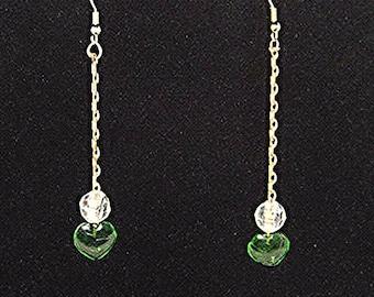 Heart Earrings, Green Earrings, Spring earrings, Beaded earrings, Simplistic Jewelry, Romantic,  Womens accessories, Drop Earrings, Nature