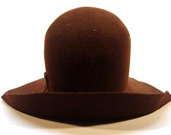 Vintage Dark Brown Wool Felt Hat