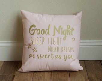 Nursery Decor - Screen Print Throw Pillow - Good Night Sleep Tight 16x16  screen printed nursery throw pillow