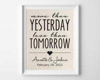 More Than Yesterday - Less Than Tomorrow | 100% Cotton Print | Personalized Names and Wedding Date | 2nd Cotton Wedding Anniversary Gift