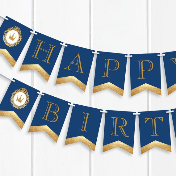 Prince Happy Birthday Banner, Blue and Gold, Birthday Party, Our ...