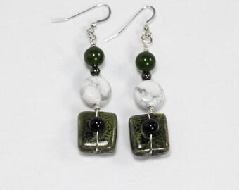 Black Onyx & Howlite Earrings, Gemstone Earrings, Green and White Earrings