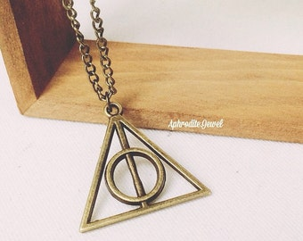 Harry Potter Deathly Hallows Necklace Jewelry Vintage Pendant