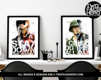Civil War Poster Pair, 2x A4 or A3 Poster Prints,  Iron Man, Captain America, Quotes, Ironman, Avengers, Marvel Inspired Art