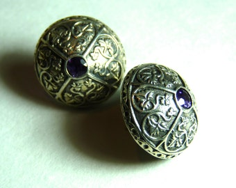 MFA ~ SILVER 925 ~ AMETHYST ~ Earrings ~ Button Style ~ Post Back ~ Museum Of Fine Arts, Boston ~ Vintage