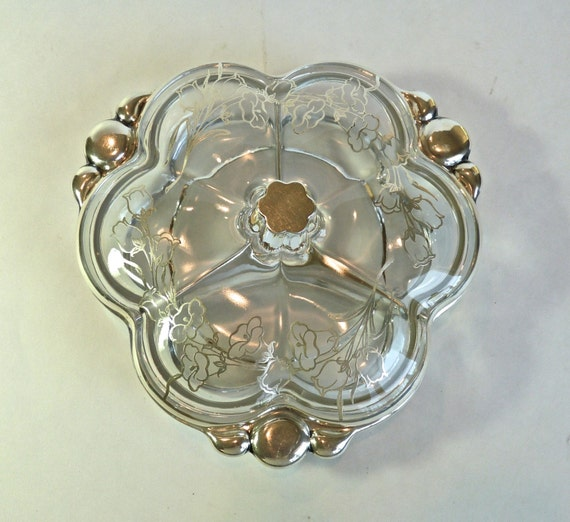 STERLING SILVER OVERLAY ~ Covered Glass Dish ~ Divided 3 Parts Dish ~ Dining and Serving ~ Vanity Dish ~ Jewelry Dish ~ Vintage 1950s ~ Gift
