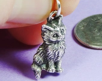 Maine Coon Kitten II Sterling Silver Charm for Bracelet,Cat Lover Gift for Her,Maine Coon Cat Ornament,Silver Kitten Charm,Furry Kitten