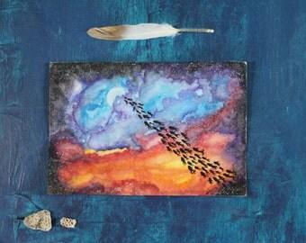 Cosmic School of Ghosts Original Moon Universe Watercolor Painting