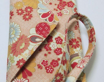 Pocket telephone, pouch iphone Handmade fabric Japanese